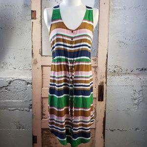 Fossil 100% Silk Striped Dress Size M